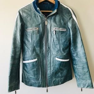 Danier teal baseball leather jacket